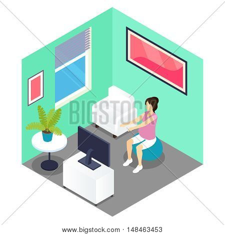Fitness and pregnancy isometric design with woman doing exercises on ball in grey green room vector illustration