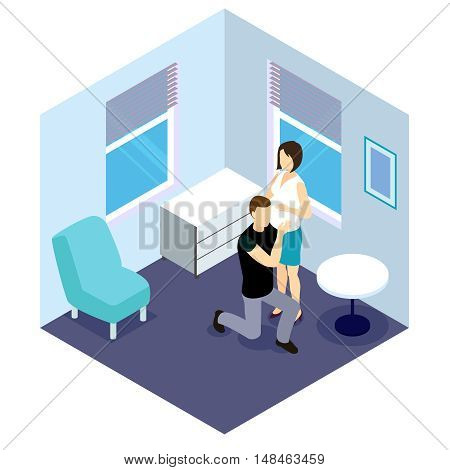 Future parents isometric design with pregnant woman and man listening sounds of embryo vector illustration