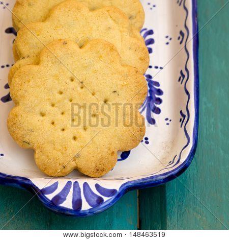 Lemon Thyme Flower Shaped Shortbread Cookies