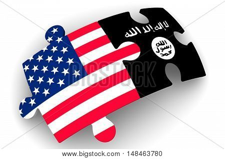 The cooperation of the United States of America and the Islamic State (ISIS). Puzzles with flags of the ISIS (Islamic State of Iraq and Syria) and the United States of America on a white surface. The concept of coincidence of interests in geopolitics. Iso