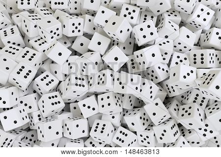 render of very much scattered white dices, 3d rendering
