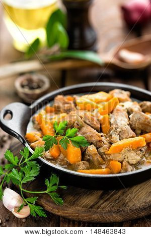 braised meat stew with carrot and sauce