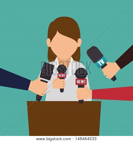 character interviwe podium microphone graphic vector illustration eps 10
