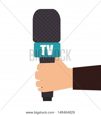 hand holding microphone tv news graphic vector illustration eps 10