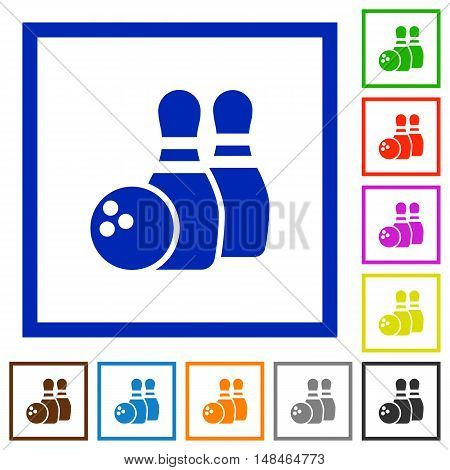 Set of color square framed bowling flat icons
