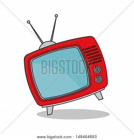tv vintage red antenna graphic vector illustration eps 10