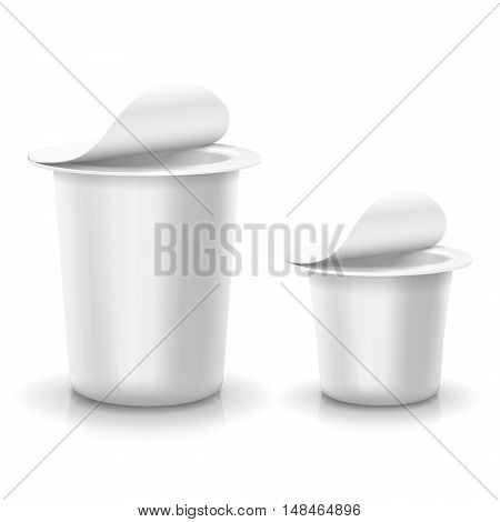 Opened white cup tub food plastic container for dessert, yogurt, ice cream