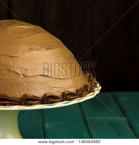 Chocolate Coffee Hazelnut Half Sphere Cake With Decorative Piping