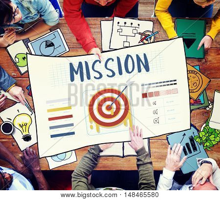 Mission Arrow Target Goals Business Dart Graphic Concept