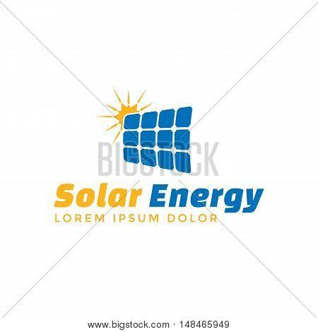 Solar energy logo template. Vector solar panel sign.