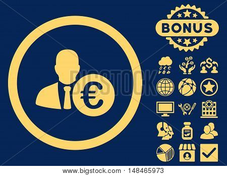 Euro Banker icon with bonus pictures. Vector illustration style is flat iconic symbols yellow color blue background.
