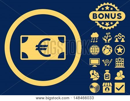 Euro Banknote icon with bonus elements. Vector illustration style is flat iconic symbols yellow color blue background.