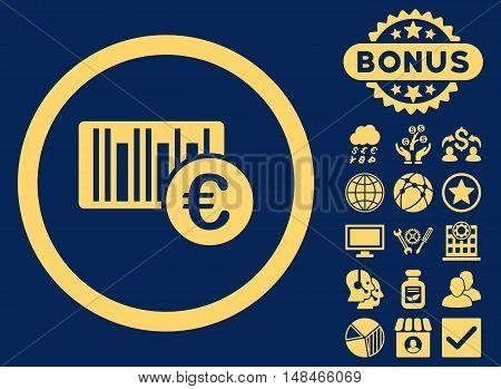 Euro Barcode icon with bonus symbols. Vector illustration style is flat iconic symbols yellow color blue background.