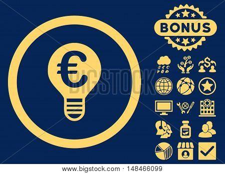 Euro Bulb icon with bonus images. Vector illustration style is flat iconic symbols yellow color blue background.