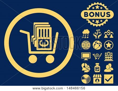 Euro Cash Out icon with bonus elements. Vector illustration style is flat iconic symbols yellow color blue background.