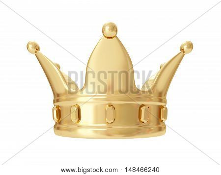 A king's golden crown on a white background. 3D rendering