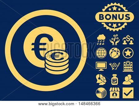 Euro Coin Stack icon with bonus design elements. Vector illustration style is flat iconic symbols yellow color blue background.