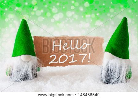 Christmas Greeting Card With Two Green Gnomes. Sparkling Bokeh And Natural Background With Snow. English Text Hello 2017