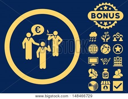 Euro Discuss Persons icon with bonus pictures. Vector illustration style is flat iconic symbols yellow color blue background.