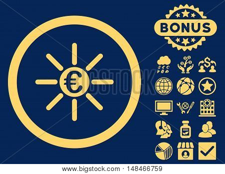 Euro Distribution icon with bonus symbols. Vector illustration style is flat iconic symbols yellow color blue background.