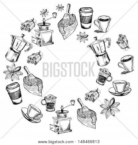 Vector images of coffee for coffee house, menu, posters