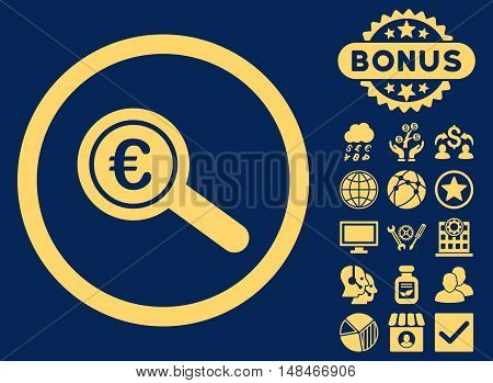 Euro Financial Audit icon with bonus elements. Vector illustration style is flat iconic symbols yellow color blue background.