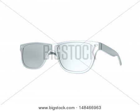 Silver sun glasses isolated over the white background. 3d rendering