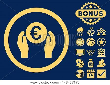 Euro Insurance Hands icon with bonus symbols. Vector illustration style is flat iconic symbols yellow color blue background.