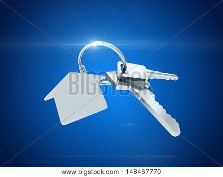 Key with blank golden label for your text isolated on blue background. 3D rendering