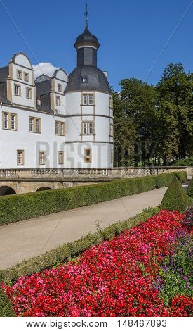 Red Flowers In Front Of The Neuhaus Castle In Paderborn