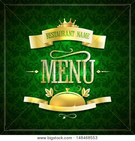 Dark green with gold restaurant menu design with ribbons against chic dark green damask backdrop