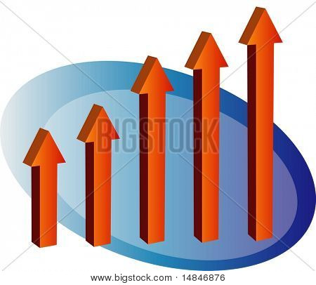 3d barchart with arrows going up
