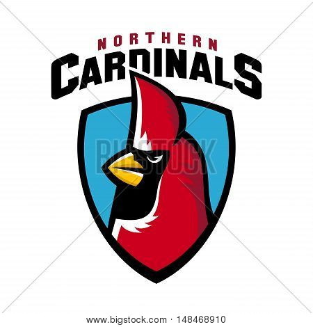 Northern cardinal sport logo angry bird team shield mascot.