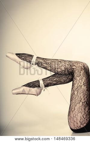 Female Legs Dancer In Ballet Shoes