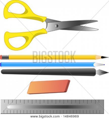 Office and artist supplies: scissors, pencil, ballpoint pen, fountain pen, erase, ruler