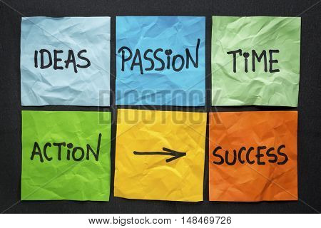 time, ideas, action, passion - success ingredients concept presented with colorful notes against black paper