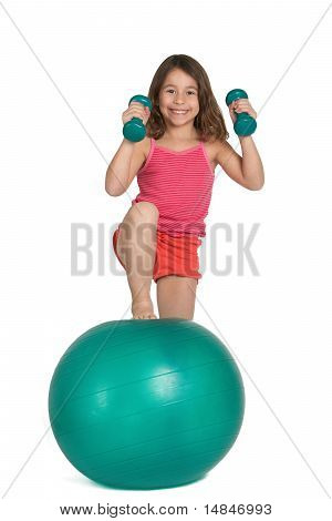Little girl exercising