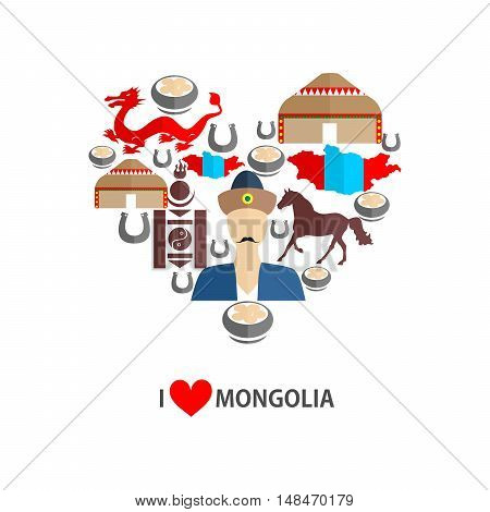 set of icons in the style of a flat design on the theme of Mongolia.