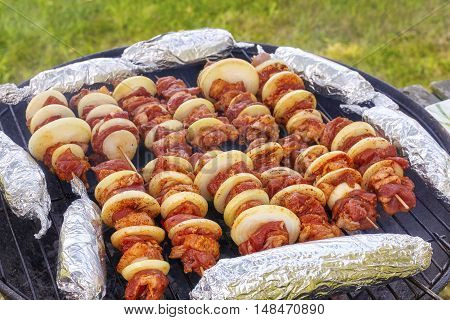 Close Up Picture Of A Barbecue In A Garden.
