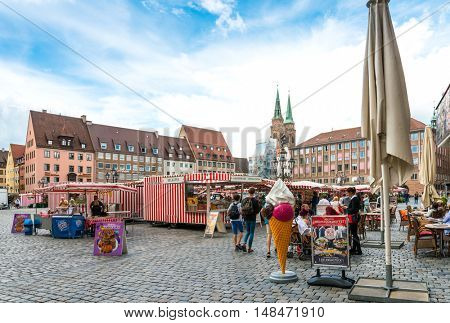 NUREMBERG, GERMANY - July 6, 2016. Street view of Nuremberg Cityscape, It is the second-largest city in Bavaria, GERMANY