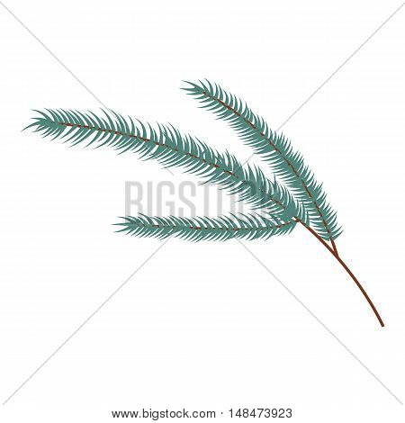 Fir branch icon in cartoon style isolated on white background vector illustration