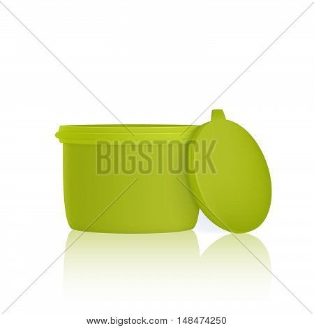 Green plastic container for foods, isolated on white background. Lunch box.