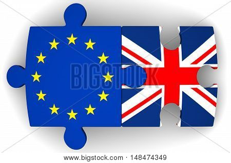 Cooperation between the European Union and the United Kingdom. Puzzles with flags of the European Union and the United Kingdom on a white surface. The concept of coincidence of interests in geopolitics. Isolated. 3D Illustration