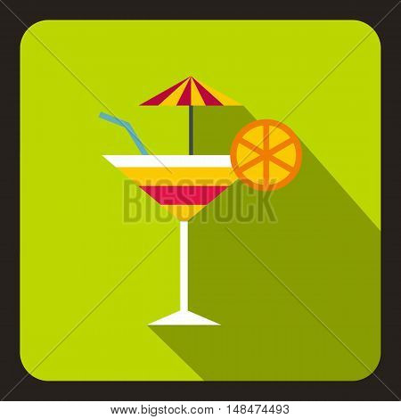 Martini glass of cocktail with orange and umbrella icon in flat style on a lime background vector illustration