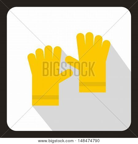 Yellow garden gloves icon in flat style on a white background vector illustration