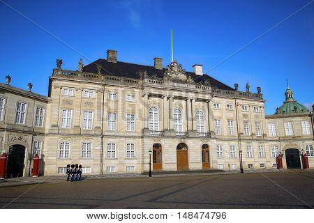 Danish Royal Life Guards on the central plaza of Amalienborg palace in Copenhagen Denmark