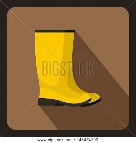 Yellow rubber boots icon in flat style on a coffee background vector illustration