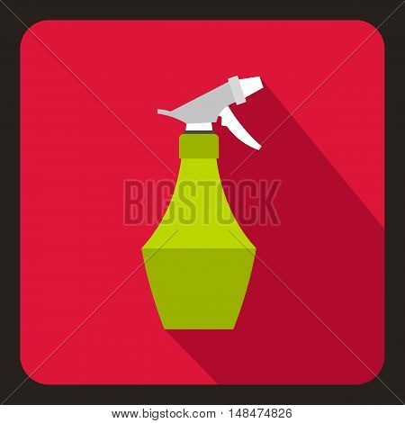 Sprayer bottle icon in flat style on a crimson background vector illustration