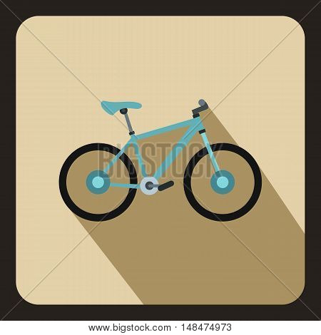 Bike icon in flat style on a beige background vector illustration