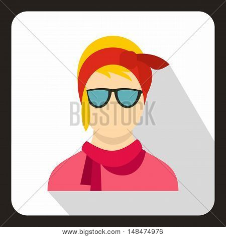 Hipster woman icon in flat style on a white background vector illustration